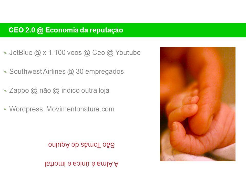 JetBlue @ x 1.100 voos @ Ceo @ Youtube Southwest Airlines @ 30 empregados Zappo @ não @ indico outra loja Wordpress. Movimentonatura.com CEO 2.0 @ Eco
