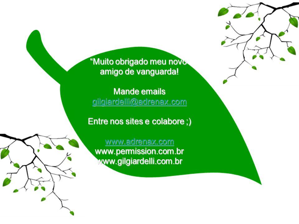 Muito obrigado meu novo amigo de vanguarda! Mande emails gilgiardelli@adrenax.com Entre nos sites e colabore ;) www.adrenax.com www.permission.com.brw