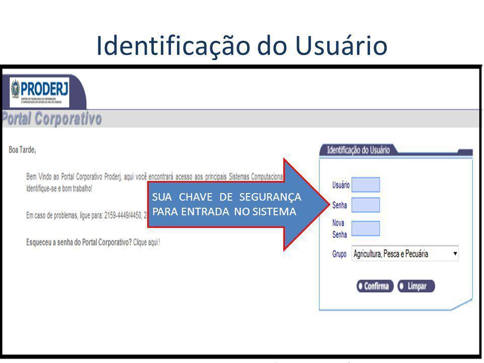 Identificação do Usuário SUA CHAVE DE SEGURANÇA PARA ENTRADA NO SISTEMA