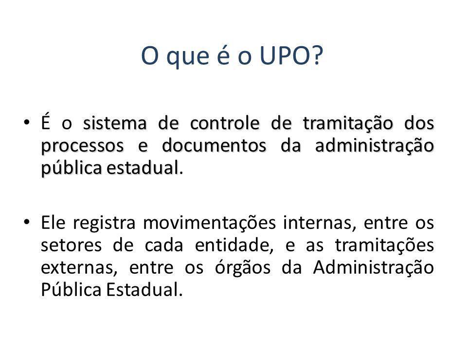 O que é o UPO? sistema de controle de tramitação dos processos e documentos da administração pública estadual É o sistema de controle de tramitação do