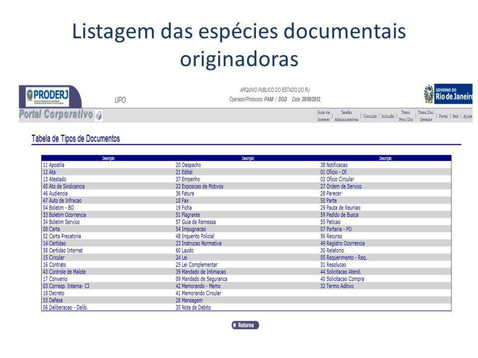 Listagem das espécies documentais originadoras