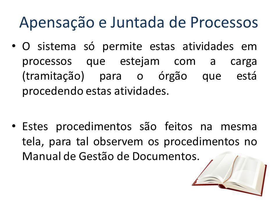 Apensação e Juntada de Processos O sistema só permite estas atividades em processos que estejam com a carga (tramitação) para o órgão que está procede