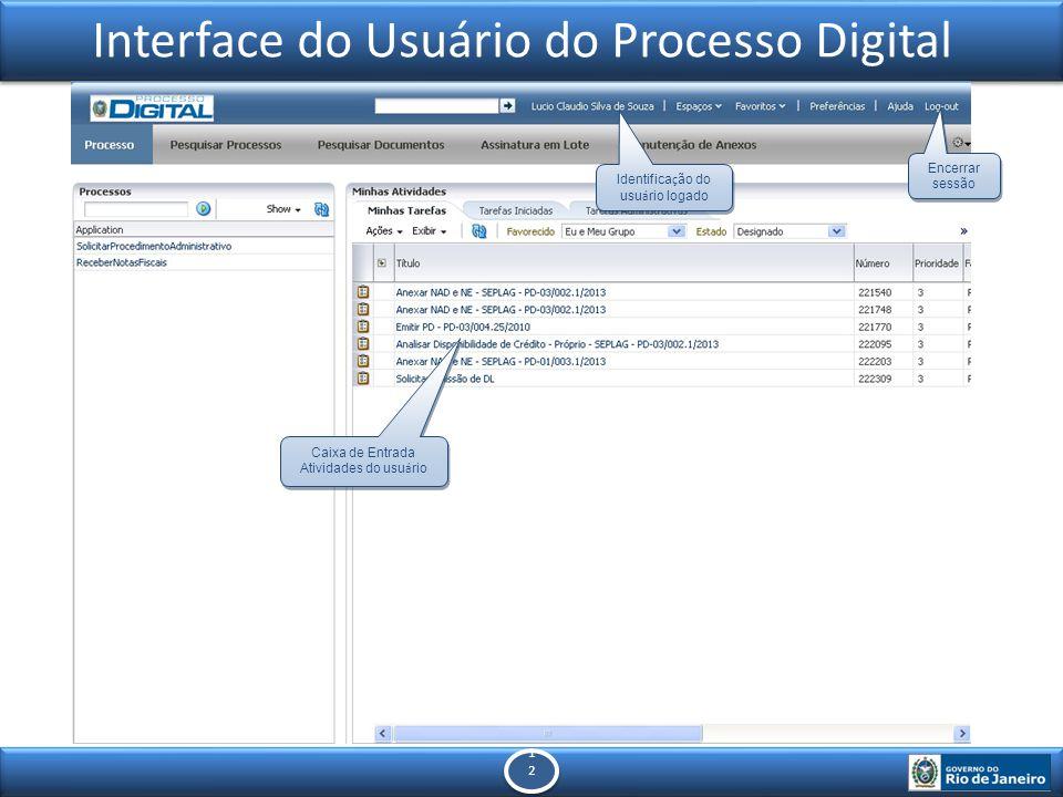 1212 1212 Interface do Usuário do Processo Digital Identifica ç ão do usu á rio logado Caixa de Entrada Atividades do usu á rio Encerrar sessão