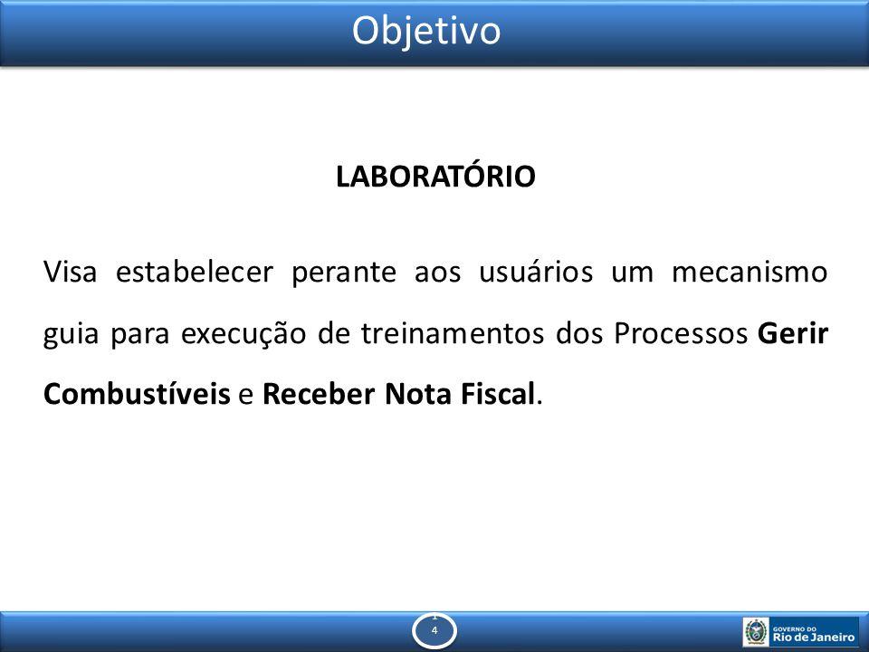 1414 1414 Objetivo LABORATÓRIO Visa estabelecer perante aos usuários um mecanismo guia para execução de treinamentos dos Processos Gerir Combustíveis e Receber Nota Fiscal.