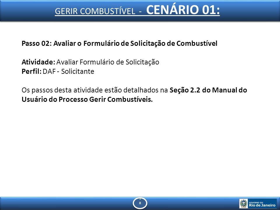 1818 1818 Passo 02: Avaliar o Formulário de Solicitação de Combustível Atividade: Avaliar Formulário de Solicitação Perfil: DAF - Solicitante Os passos desta atividade estão detalhados na Seção 2.2 do Manual do Usuário do Processo Gerir Combustíveis.
