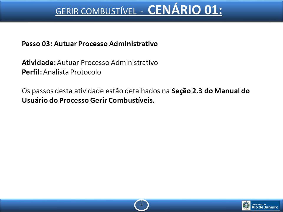 1919 1919 Passo 03: Autuar Processo Administrativo Atividade: Autuar Processo Administrativo Perfil: Analista Protocolo Os passos desta atividade estão detalhados na Seção 2.3 do Manual do Usuário do Processo Gerir Combustíveis.
