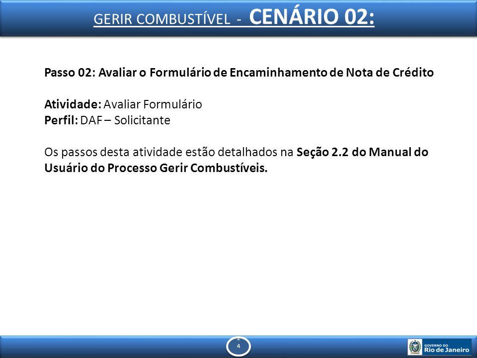 2424 2424 Passo 02: Avaliar o Formulário de Encaminhamento de Nota de Crédito Atividade: Avaliar Formulário Perfil: DAF – Solicitante Os passos desta atividade estão detalhados na Seção 2.2 do Manual do Usuário do Processo Gerir Combustíveis.