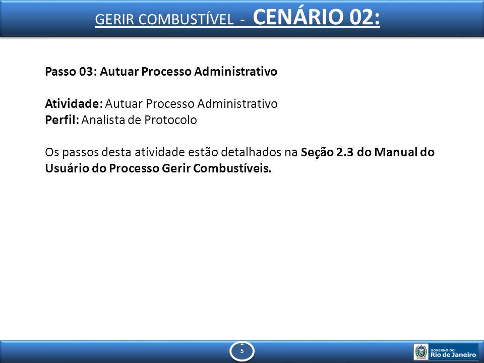 2525 2525 Passo 03: Autuar Processo Administrativo Atividade: Autuar Processo Administrativo Perfil: Analista de Protocolo Os passos desta atividade estão detalhados na Seção 2.3 do Manual do Usuário do Processo Gerir Combustíveis.
