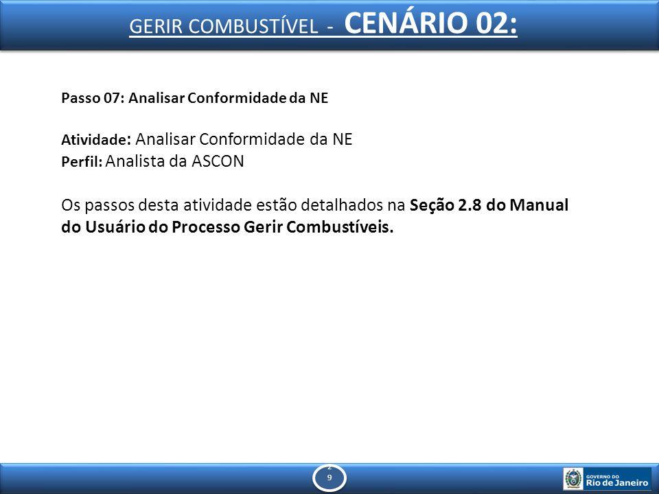 2929 2929 Passo 07: Analisar Conformidade da NE Atividade : Analisar Conformidade da NE Perfil: Analista da ASCON Os passos desta atividade estão detalhados na Seção 2.8 do Manual do Usuário do Processo Gerir Combustíveis.