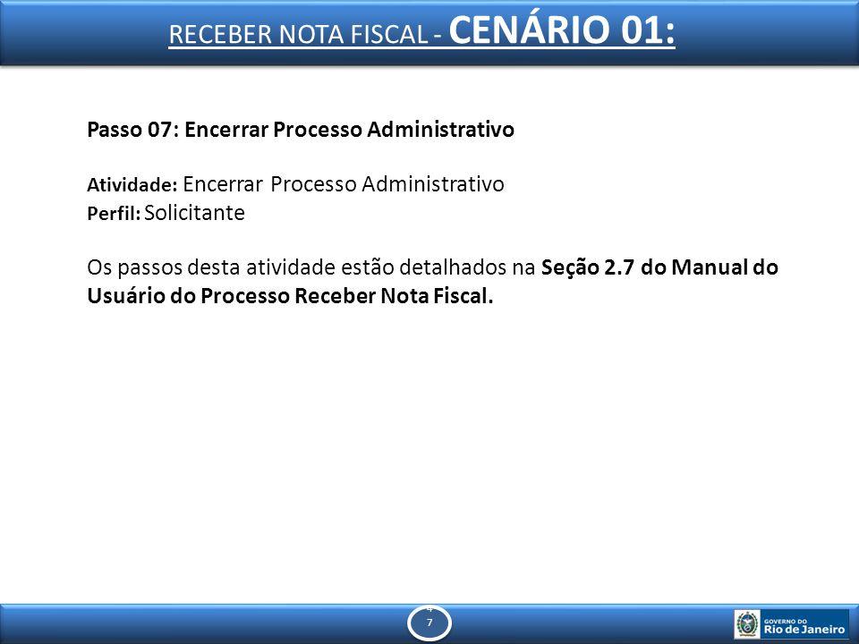 4747 4747 Passo 07: Encerrar Processo Administrativo Atividade: Encerrar Processo Administrativo Perfil: Solicitante Os passos desta atividade estão detalhados na Seção 2.7 do Manual do Usuário do Processo Receber Nota Fiscal.