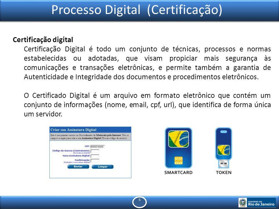 5 5 Processo Digital (Certificação) Certificação digital Certificação Digital é todo um conjunto de técnicas, processos e normas estabelecidas ou adotadas, que visam propiciar mais segurança às comunicações e transações eletrônicas, e permite também a garantia de Autenticidade e Integridade dos documentos e procedimentos eletrônicos.
