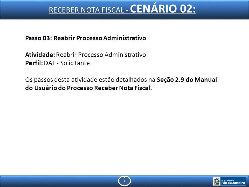 5151 5151 Passo 03: Reabrir Processo Administrativo Atividade: Reabrir Processo Administrativo Perfil: DAF - Solicitante Os passos desta atividade estão detalhados na Seção 2.9 do Manual do Usuário do Processo Receber Nota Fiscal.