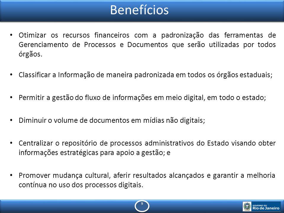 9 9 Benefícios Otimizar os recursos financeiros com a padronização das ferramentas de Gerenciamento de Processos e Documentos que serão utilizadas por todos órgãos.