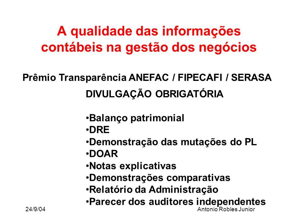 24/9/04Antonio Robles Junior A qualidade das informações contábeis na gestão dos negócios Prêmio Transparência ANEFAC / FIPECAFI / SERASA DIVULGAÇÃO O