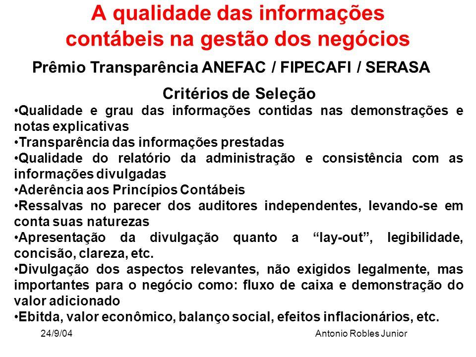 24/9/04Antonio Robles Junior A qualidade das informações contábeis na gestão dos negócios Prêmio Transparência ANEFAC / FIPECAFI / SERASA Critérios de