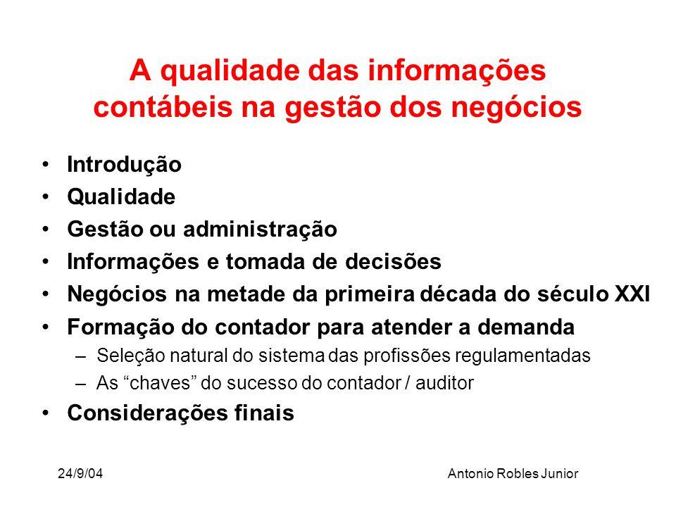24/9/04Antonio Robles Junior Introdução Qualidade Gestão ou administração Informações e tomada de decisões Negócios na metade da primeira década do sé