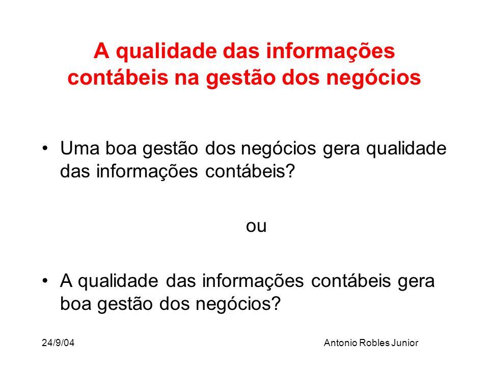 24/9/04Antonio Robles Junior Uma boa gestão dos negócios gera qualidade das informações contábeis? ou A qualidade das informações contábeis gera boa g