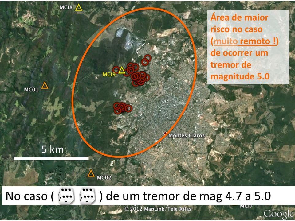 5 km Área de maior risco no caso (muito remoto !) de ocorrer um tremor de magnitude 5.0 No caso ( ) de um tremor de mag 4.7 a 5.0