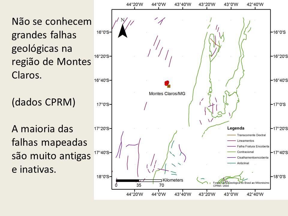Não se conhecem grandes falhas geológicas na região de Montes Claros. (dados CPRM) A maioria das falhas mapeadas são muito antigas e inativas.