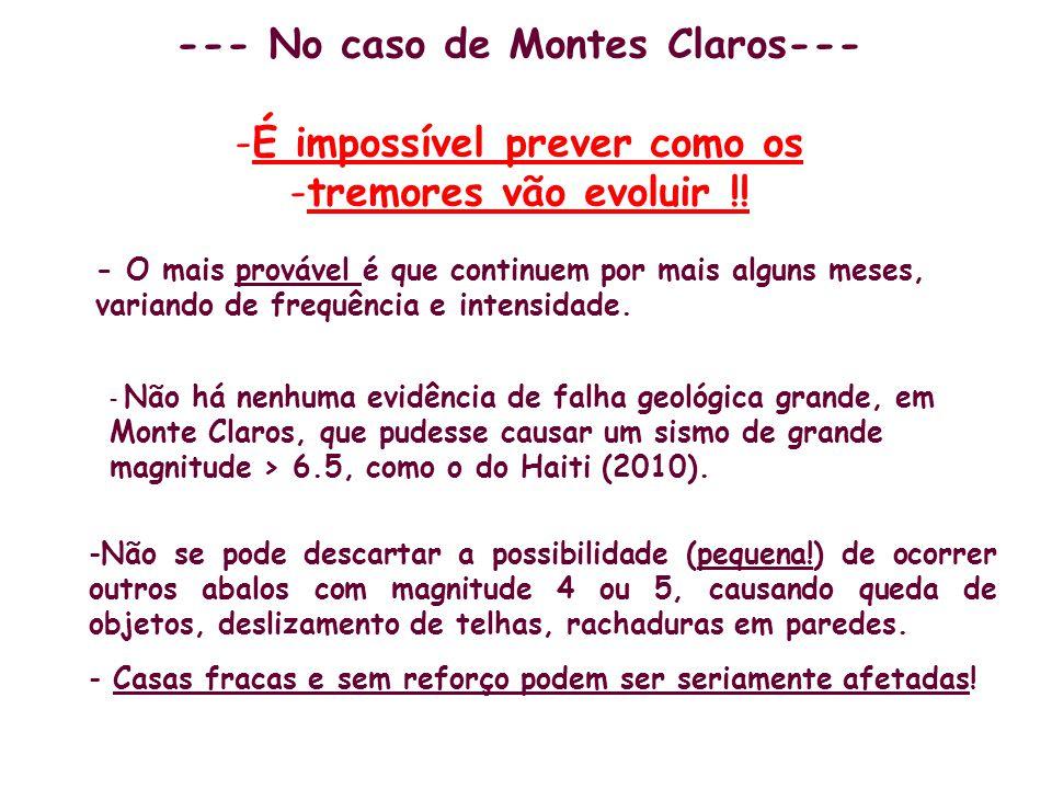 --- No caso de Montes Claros--- -É impossível prever como os -tremores vão evoluir !! - O mais provável é que continuem por mais alguns meses, variand