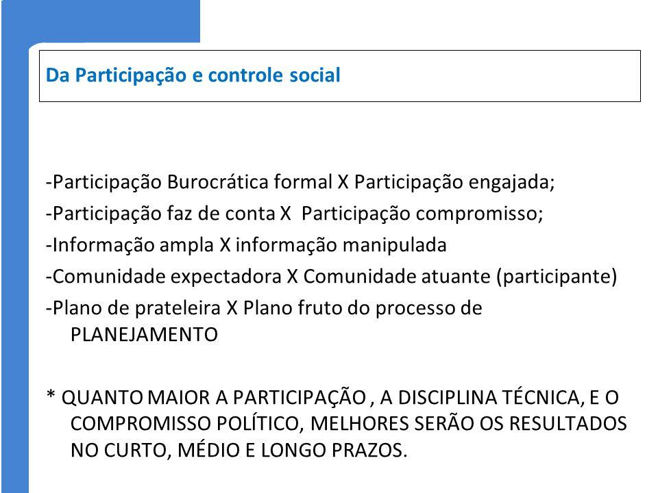 Da Participação e controle social -Participação Burocrática formal X Participação engajada; -Participação faz de conta X Participação compromisso; -In