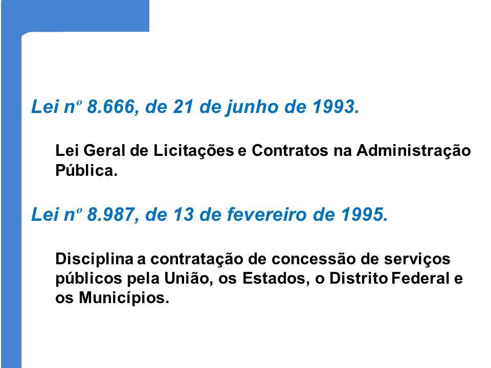 Lei n º 8.666, de 21 de junho de 1993. Lei Geral de Licitações e Contratos na Administração Pública. Lei n º 8.987, de 13 de fevereiro de 1995. Discip