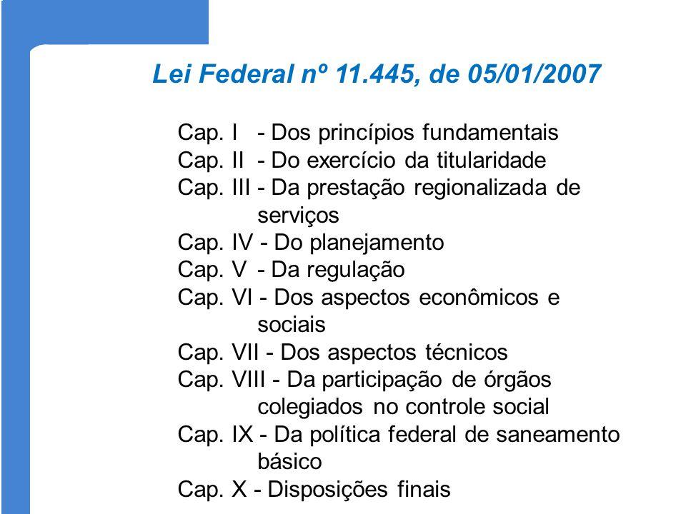Cap. I - Dos princípios fundamentais Cap. II - Do exercício da titularidade Cap. III - Da prestação regionalizada de serviços Cap. IV - Do planejament
