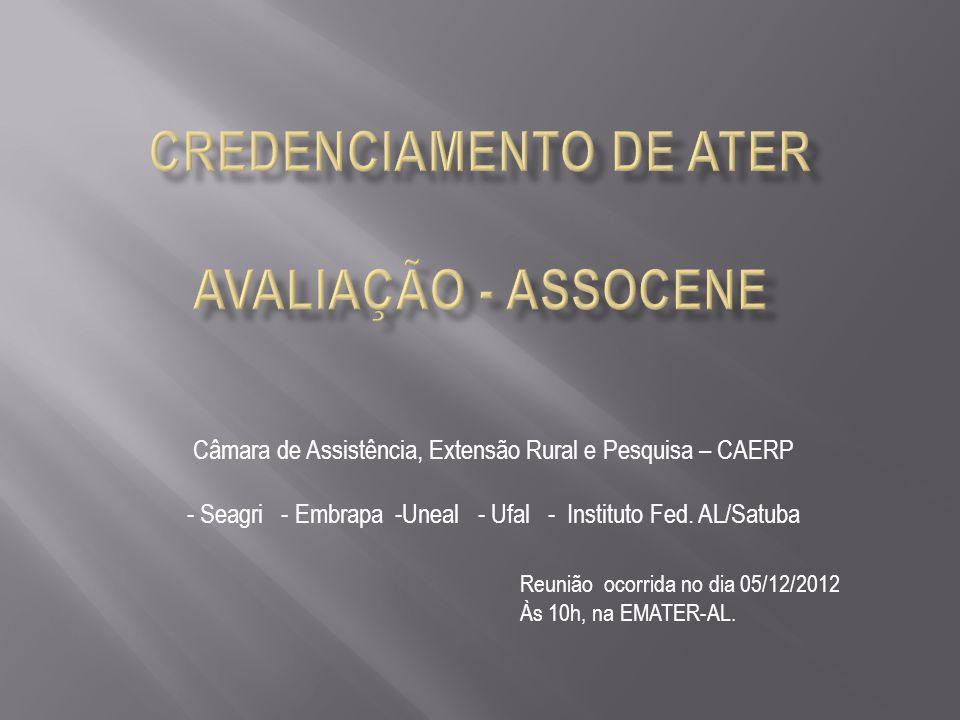 Câmara de Assistência, Extensão Rural e Pesquisa – CAERP - Seagri - Embrapa -Uneal - Ufal - Instituto Fed.