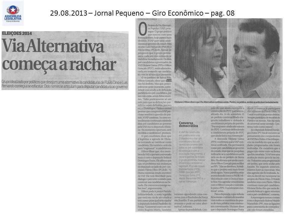 29.08.2013 – Jornal Pequeno – Giro Econômico – pag. 08