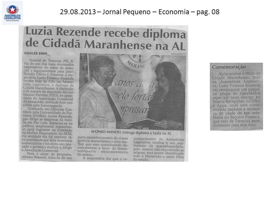 29.08.2013 – Jornal Pequeno – Economia – pag. 08