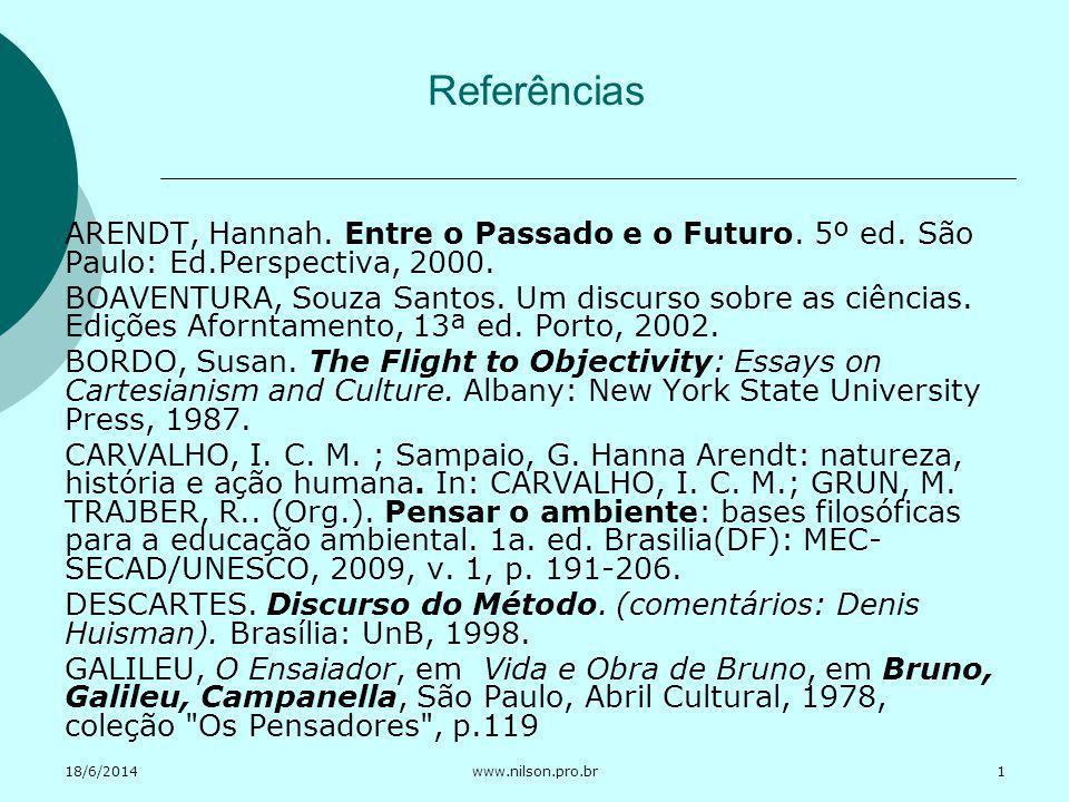 18/6/2014www.nilson.pro.br Referências ARENDT, Hannah. Entre o Passado e o Futuro. 5º ed. São Paulo: Ed.Perspectiva, 2000. BOAVENTURA, Souza Santos. U