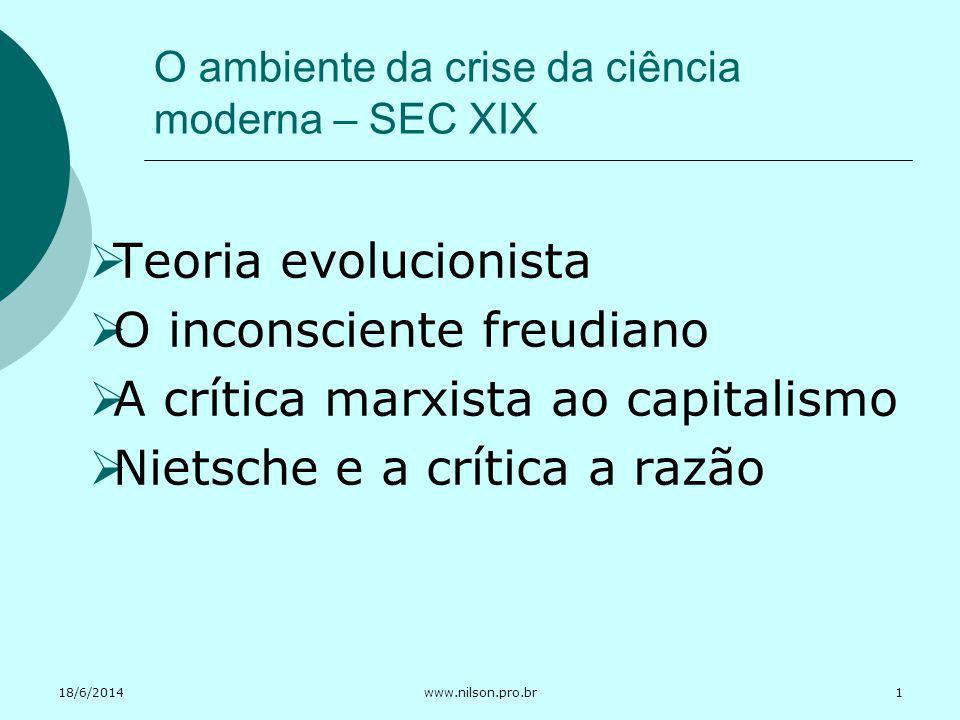 18/6/2014www.nilson.pro.br O ambiente da crise da ciência moderna – SEC XIX Teoria evolucionista O inconsciente freudiano A crítica marxista ao capita