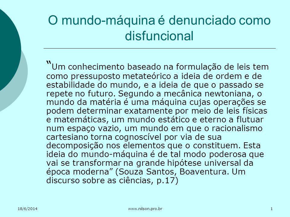 18/6/2014www.nilson.pro.br O mundo-máquina é denunciado como disfuncional Um conhecimento baseado na formulação de leis tem como pressuposto metateóri