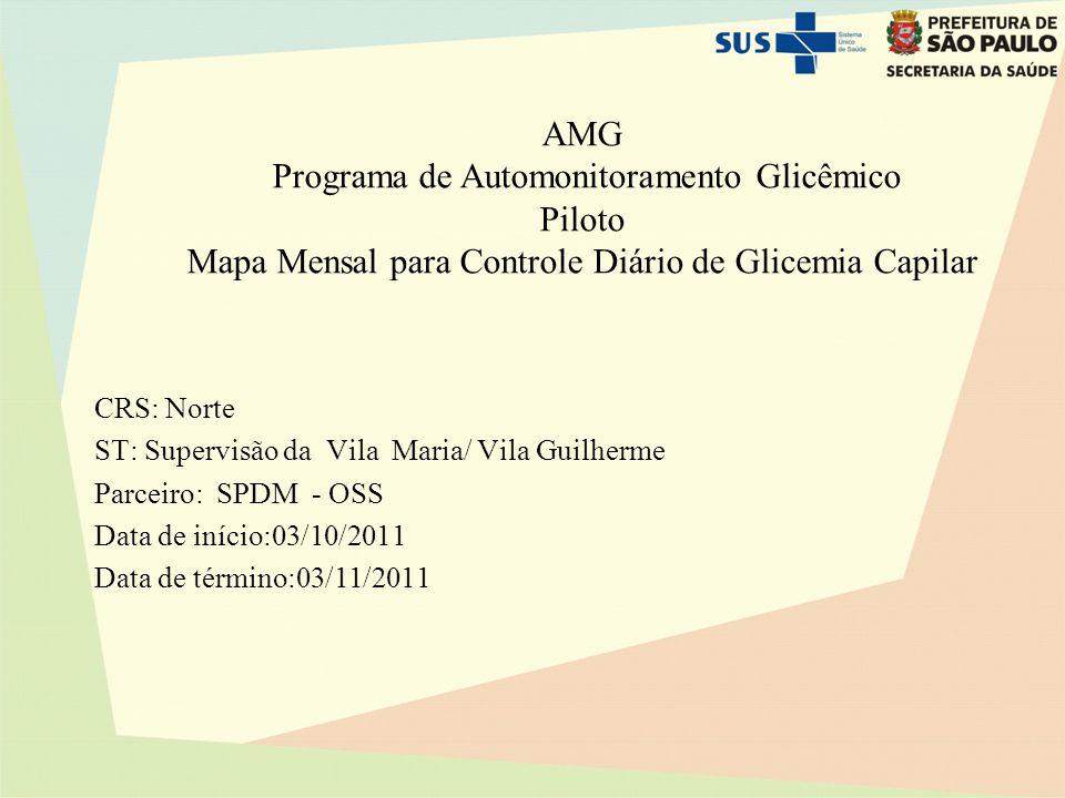 AMG Programa de Automonitoramento Glicêmico Piloto Mapa Mensal para Controle Diário de Glicemia Capilar CRS: Norte ST: Supervisão da Vila Maria/ Vila Guilherme Parceiro: SPDM - OSS Data de início:03/10/2011 Data de término:03/11/2011