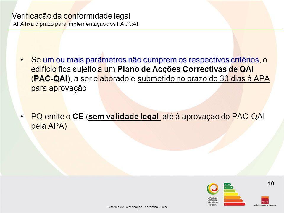 Sistema de Certificação Energética - Geral 16 um ou mais parâmetros não cumprem os respectivos critérios PAC-QAISe um ou mais parâmetros não cumprem o