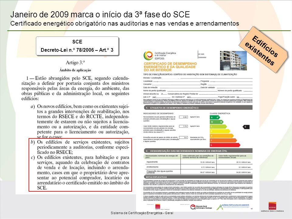 Sistema de Certificação Energética - Geral Janeiro de 2009 marca o início da 3ª fase do SCE Certificado energético obrigatório nas auditorias e nas ve