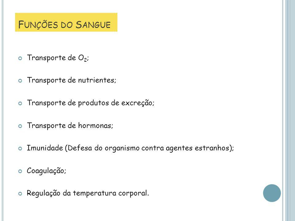Transporte de O 2 ; Transporte de nutrientes; Transporte de produtos de excreção; Transporte de hormonas; Imunidade (Defesa do organismo contra agente