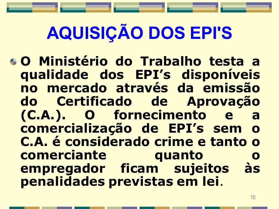 10 AQUISIÇÃO DOS EPI'S O Ministério do Trabalho testa a qualidade dos EPIs disponíveis no mercado através da emissão do Certificado de Aprovação (C.A.