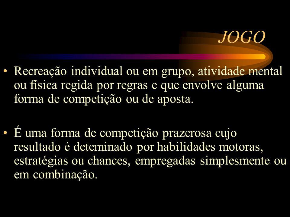 JOGO Recreação individual ou em grupo, atividade mental ou física regida por regras e que envolve alguma forma de competição ou de aposta.