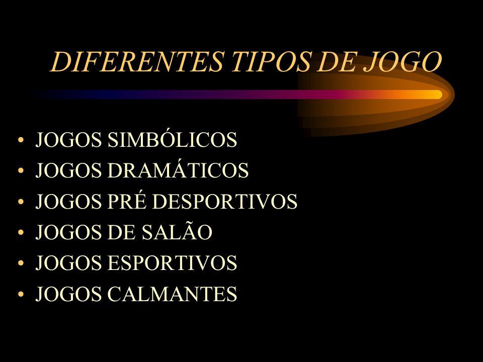 DIFERENTES TIPOS DE JOGO JOGOS SIMBÓLICOS JOGOS DRAMÁTICOS JOGOS PRÉ DESPORTIVOS JOGOS DE SALÃO JOGOS ESPORTIVOS JOGOS CALMANTES
