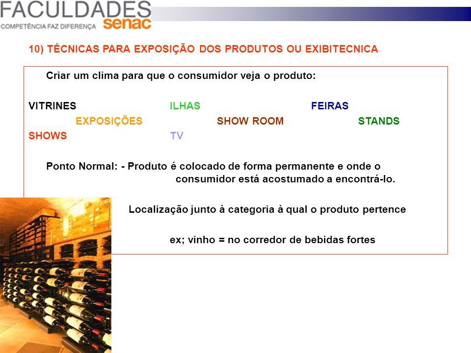 9) PONTOS PRINCIPAIS A SEREM OBSERVADOS EM UMA EXPOSIÇÃO Comunicação = Sinalização com preço, oferta; Volume = Quantidade de mercadoria