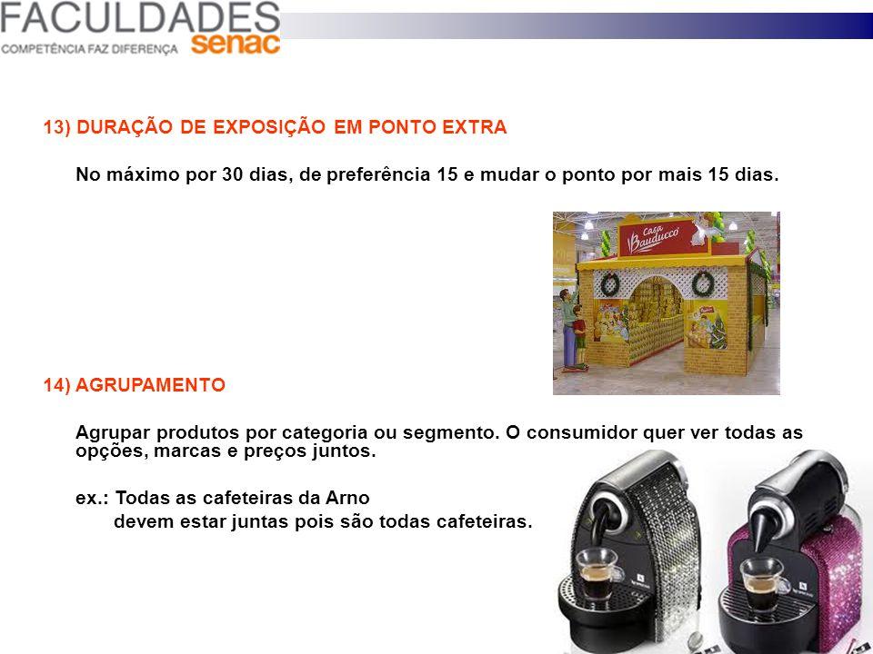 11 ) PONTO PROMOCIONAL OU EXTRA Local onde o produto é exposto por tempo limitado: ex: vinho = colocado na ponta de gôndola do corredor dos queijos. 1