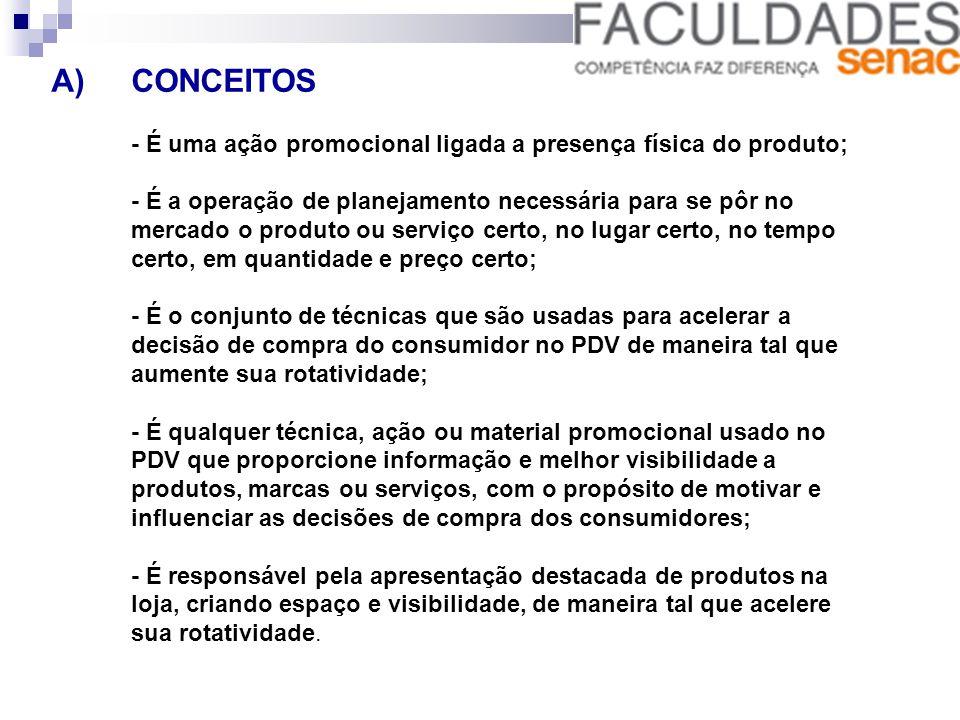 8) DISPOSIÇÃO DE PRODUTOS Posição do Produto: - A altura do consumidor. Ponta de gôndola, Ilha;