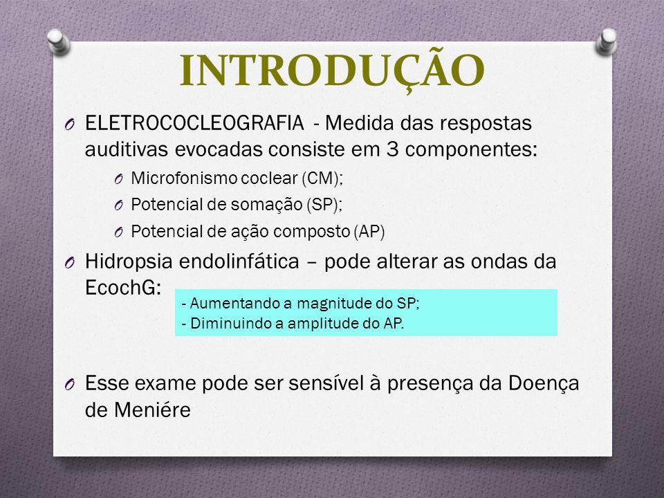 O ELETROCOCLEOGRAFIA - Medida das respostas auditivas evocadas consiste em 3 componentes: O Microfonismo coclear (CM); O Potencial de somação (SP); O