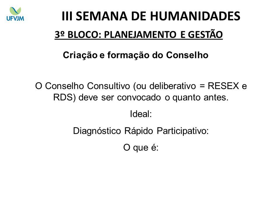 3º BLOCO: PLANEJAMENTO E GESTÃO Criação e formação do Conselho O Conselho Consultivo (ou deliberativo = RESEX e RDS) deve ser convocado o quanto antes.