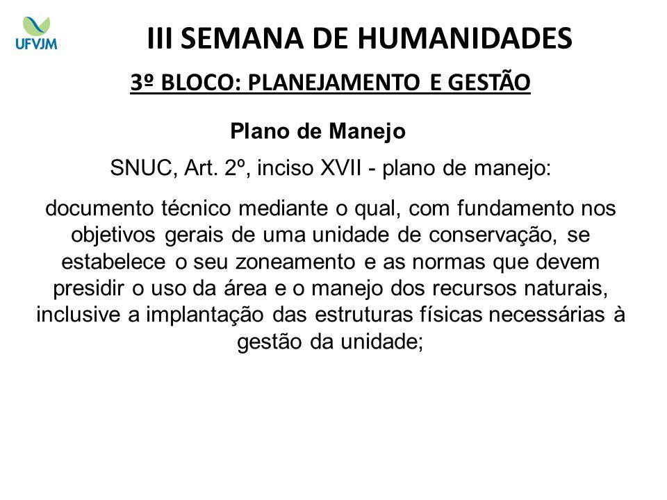 3º BLOCO: PLANEJAMENTO E GESTÃO Plano de Manejo SNUC, Art.