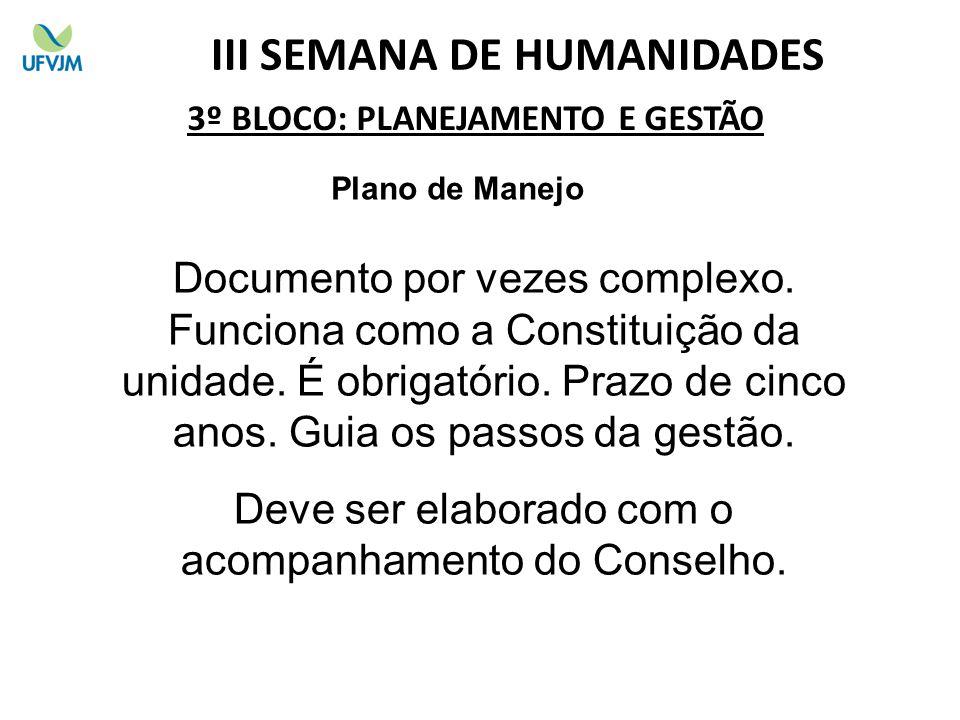 3º BLOCO: PLANEJAMENTO E GESTÃO Plano de Manejo III SEMANA DE HUMANIDADES Documento por vezes complexo.
