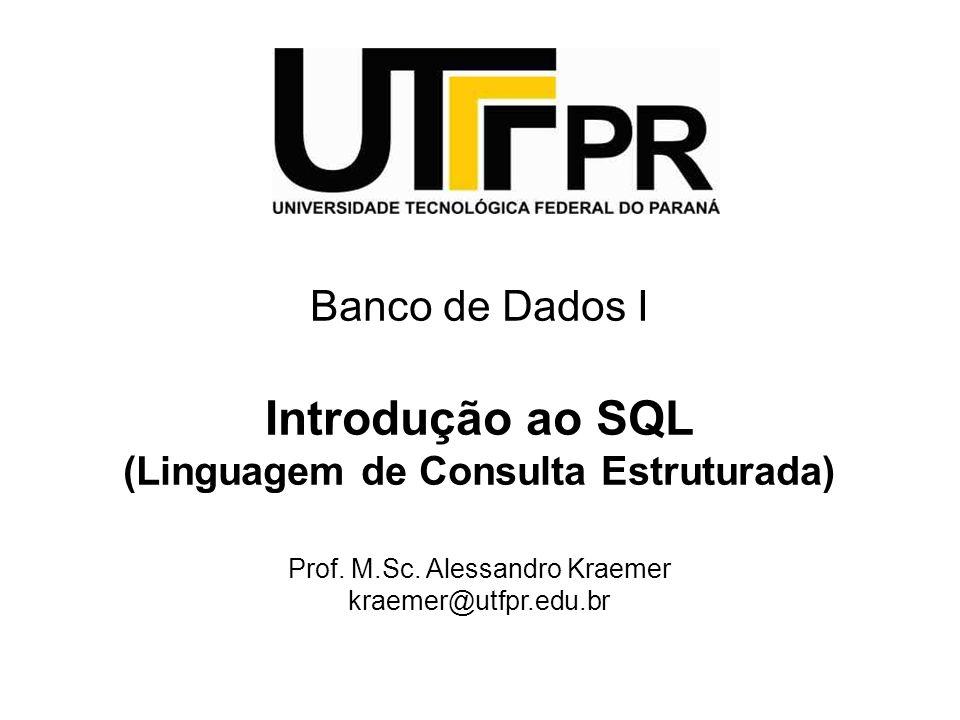 Banco de Dados I Introdução ao SQL (Linguagem de Consulta Estruturada) Prof.