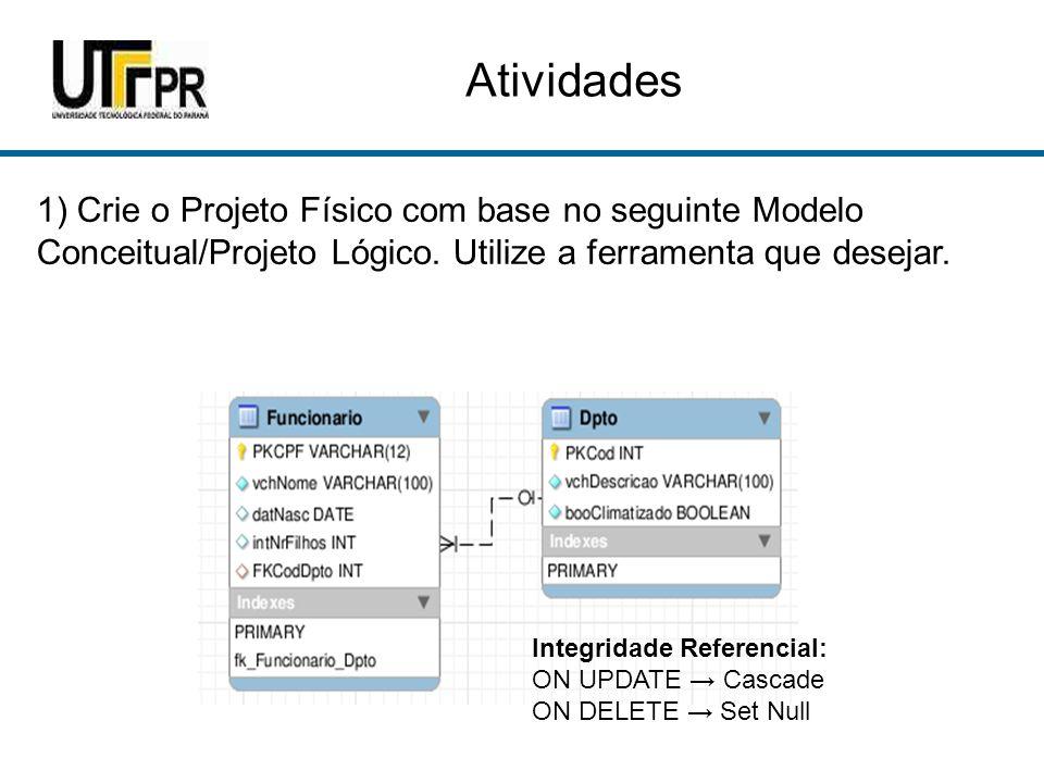 Atividades 1) Crie o Projeto Físico com base no seguinte Modelo Conceitual/Projeto Lógico.