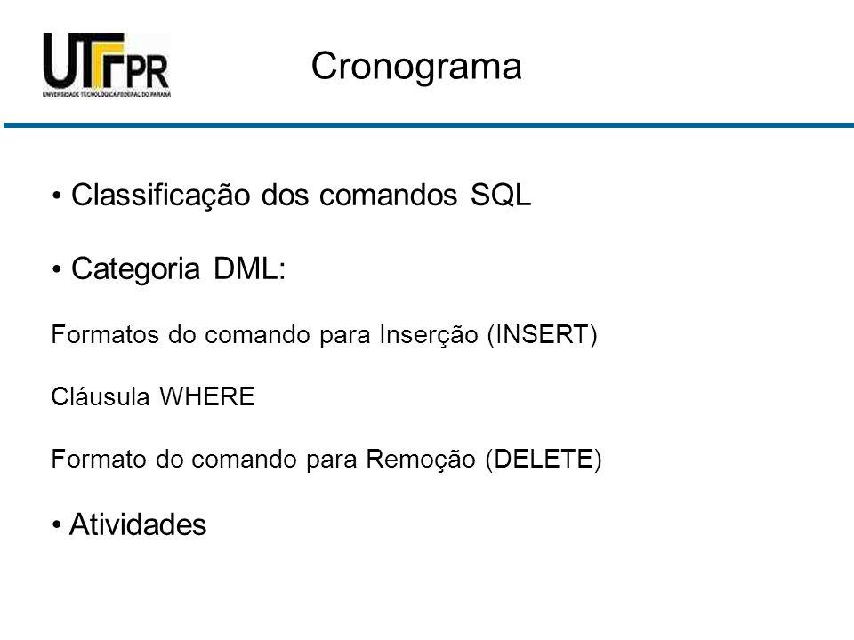 Cronograma Classificação dos comandos SQL Categoria DML: Formatos do comando para Inserção (INSERT) Cláusula WHERE Formato do comando para Remoção (DELETE) Atividades